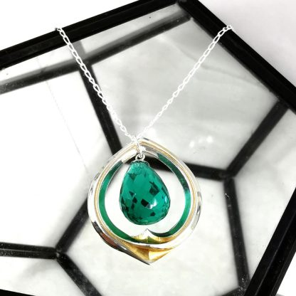 Silver and chrysopase pendant