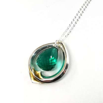 Silver and gold chrysopase pendant