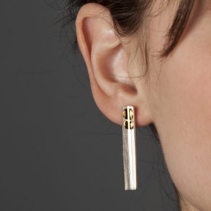 rectangle earrings, silver earrings, handmade jewellery, line earrings, handmade in the UK