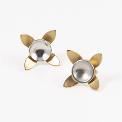 Silver and gold flower stud earrings