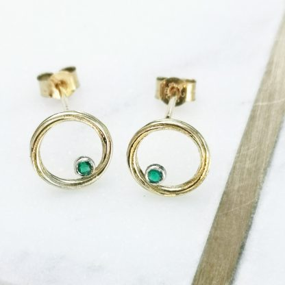 gold and green earrings